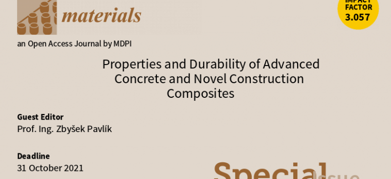 Časopis Materials - Properties and Durability of Advanced Concrete and Novel Construction Composites
